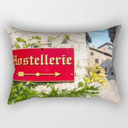 Hostellerie french sign direction close-up in medieval village Rectangular Pillow