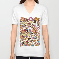 junk food V-neck T-shirts featuring Cartoon Junk food pattern. by Nick's Emporium