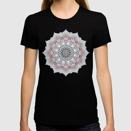 Expansion - boho mandala in soft salmon pink & blue T-shirt