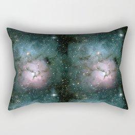 Green and Pink Burst Galaxy Rectangular Pillow