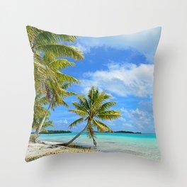 Tropical palm beach in the Pacific Throw Pillow