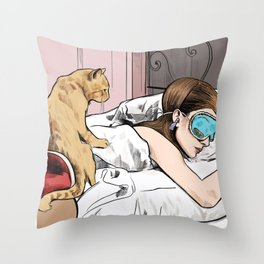 Holly Golightly the cat with no name - Audrey Hepburn in Breakfast at Tiffany's Throw Pillow