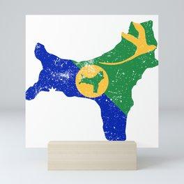 Distressed Christmas Island Map Mini Art Print