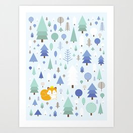 The fox in the winter forest Art Print