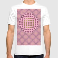 Pop pink White MEDIUM Mens Fitted Tee
