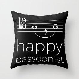 Happy bassoonist (dark colors/tenor clef) Throw Pillow