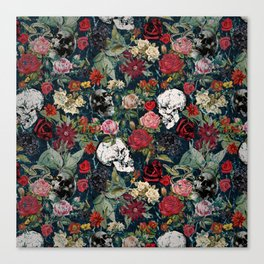 Distressed Floral with Skulls Pattern Canvas Print
