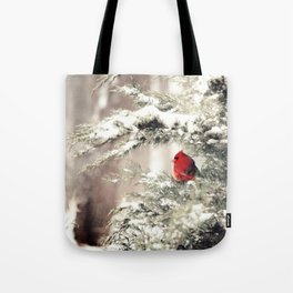 View the snowfall, Cardinal Tote Bag