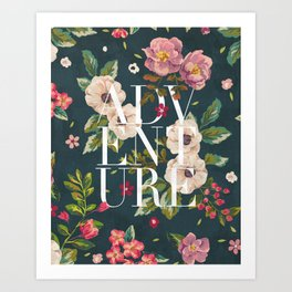 Adventure // Floral Typography Art Print