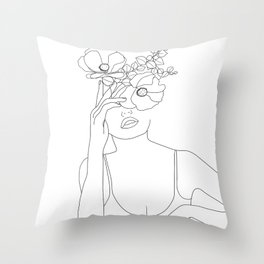 Minimal Line Art Woman with Flowers II Throw Pillow