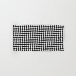 Friendly Houndstooth Pattern, black and white Hand & Bath Towel