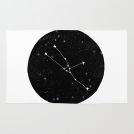 Taurus constellation black and white minimal star chart stars outer space astronomy Rug