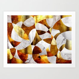 Curves - Silver and Gold Art Print