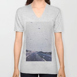 on the road with the rain storm Unisex V-Neck