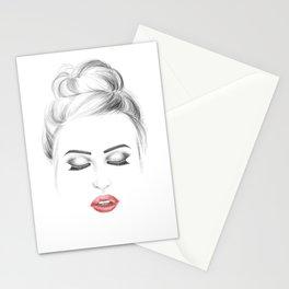 Minimalist fashion illustration model face Stationery Cards