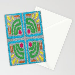 Square Stamp Multi Blue Stationery Cards