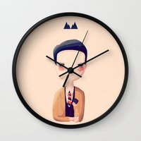 dale cooper Wall Clocks featuring Dale by Nan Lawson