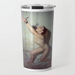 Nude woman cuffed and chained Travel Mug