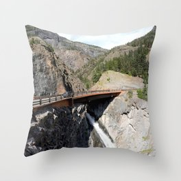 Bear Creek Falls in the Uncompahgre Gorge - Vertical Panorama No. 2 of 2 Throw Pillow
