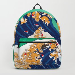 Christmas Shiba Inu The Great Wave Backpack