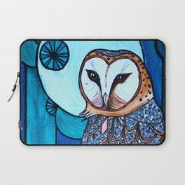 Barn Owl Art Nouveau Panel in blue Laptop Sleeve