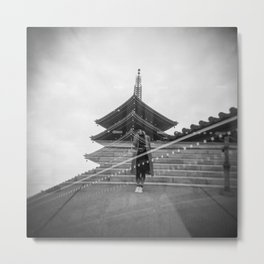 Lonely Girl at Asakusa Temple - Tokyo, Japan - Black and White Double Exposure Metal Print