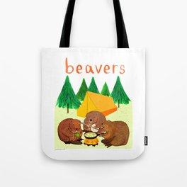 Beavers Illustration Tote Bag