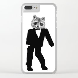 Twisted Raccoon Clear iPhone Case