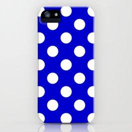 Medium blue - blue - White Polka Dots - Pois Pattern iPhone Case