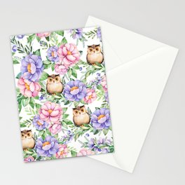 Watercolor hand painted pink lavender brown floral cute owl pattern Stationery Cards