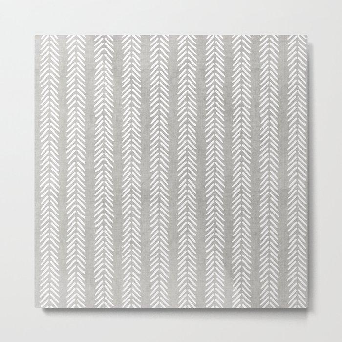 Mud cloth - Grey Arrowheads Metal Print