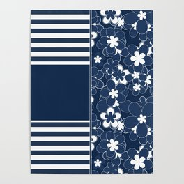 Patchwork , floral , blue , striped Poster