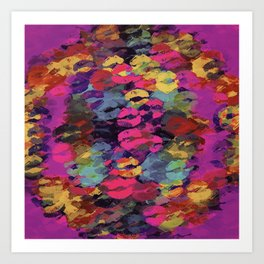 pink red yellow and purple kisses lipstick abstract background Art Print