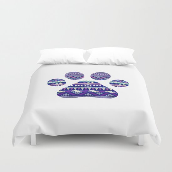 Aztec Paw Print (Dog & Puppy, Animal Lovers) Duvet Cover