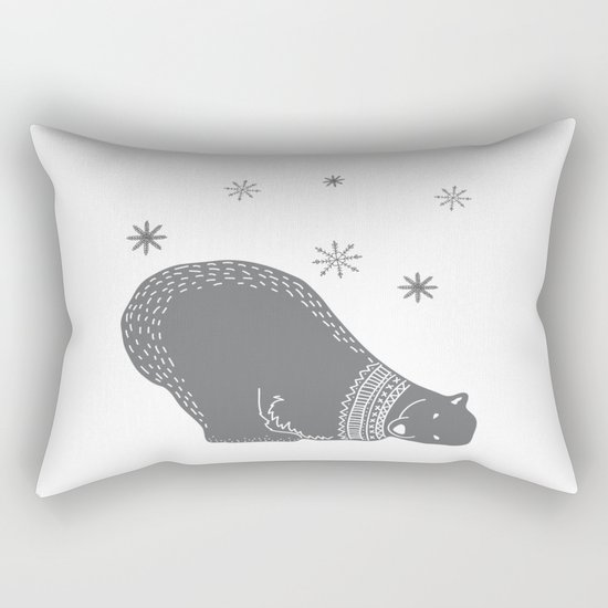 Merry christmas- Polar bear - Animal Watercolor Illustration Rectangular Pillow