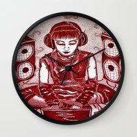 internet Wall Clocks featuring Internet Girl by Yukska