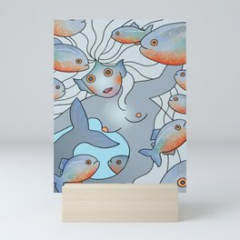 Piranha Mermaid Mini Art Print