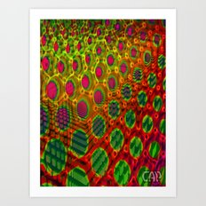 Fractal Descent #2 - Geometric Optical Illusion Psychedelic Void Trippy Colorful Design Art Print