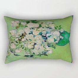 White Rose In A Vase Vincent van Gogh 1890 Oil on Canvas Still Life With Floral Arrangement Rectangular Pillow