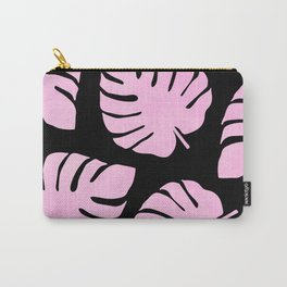 Pink Monstera Leaves Pattern Carry-All Pouch