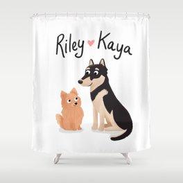 "Custom Dog Artwork, ""Riley and Kaya"" Shower Curtain"