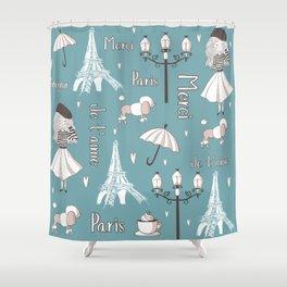 Paris Girl - Blue Shower Curtain