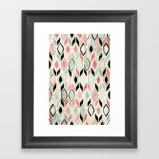 Patchwork Pattern in Coral, Mint, Black & White Framed Art Print