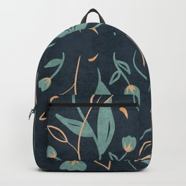 Floral Symmetry Pattern in Deep Blue And Teal Backpack