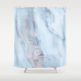 Light Blue Gray Marble Shower Curtain