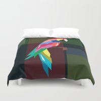 parrot Duvet Covers featuring parrot by mark ashkenazi