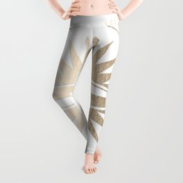 Gold on White Compass Leggings