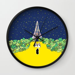 Eiffle Tower and Penguin Familiy Wall Clock