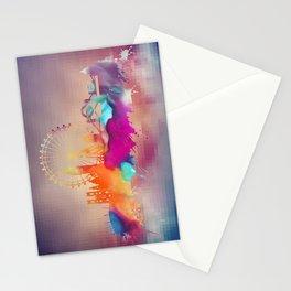 Colored London skyline Stationery Cards
