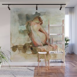 Watercolour Nude Woman Figure Expressive Colourful Painting of Female Wall Mural